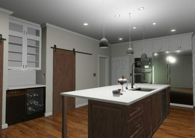 Adding the lighting scheme to the 3D remodeling rendering in East Cobb kitchen