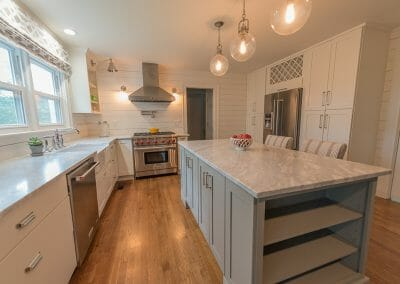 We painted the island gray to contrast with the white cabinetry in this kitchen renovation in Atlanta