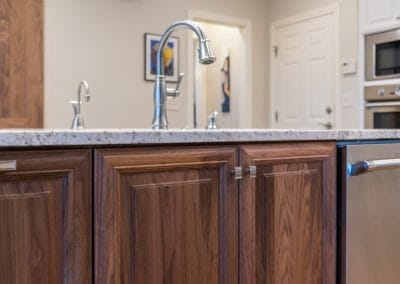 Detail of hardware in kitchen remodeling project in East Cobb