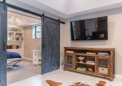 Television in sitting room in master suite remodel in Roswell