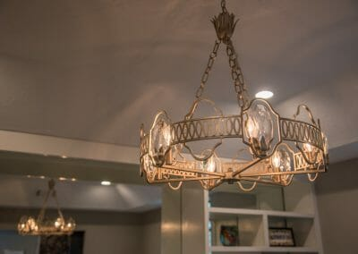 Decorative light fixtures in master suite remodeling project in Roswell