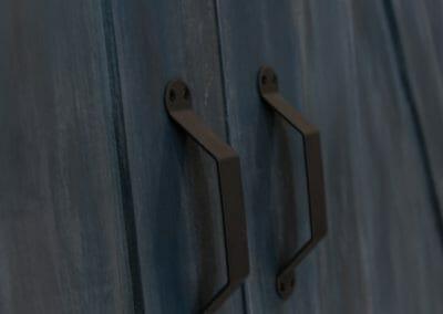 Barn door hardware in master suite remodel in Roswell