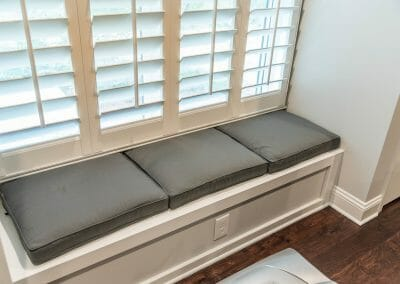 Window seat with storage in basement addition in East Cobb