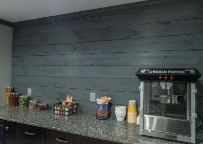 Snack counter with popcorn popper in East Cobb home theater