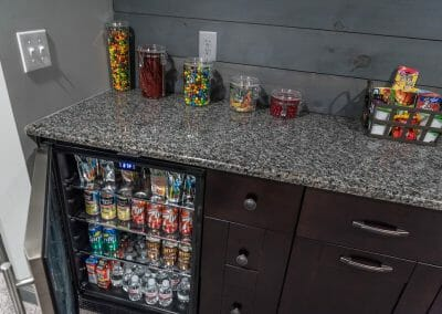 Beverage fridge in East Cobb home theater remodel