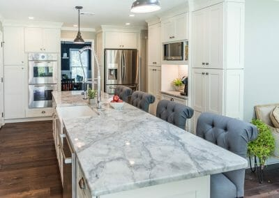 Long island with seating in the East Cobb kitchen remodeling project