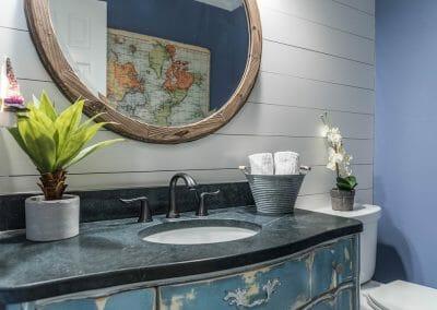 Repurposed vanity in East Cobb powder room remodel