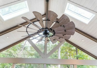 Large beautiful ceiling fan in screened porch remodel in East Cobb