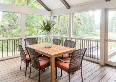 Dining area in screened porch remodel in East Cobb