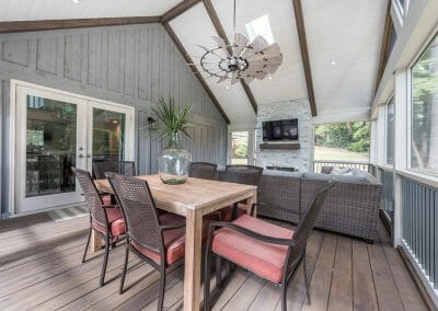 Interior screened porch addition with dining area in East Cobb