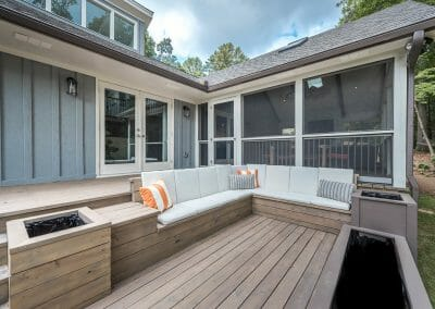 Deck remodel with built-in planters in East Cobb