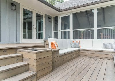 Side view of tiered deck remodel in East Cobb