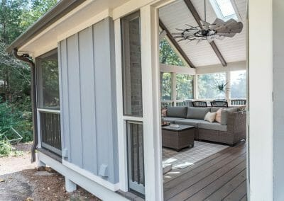 Exterior screened porch addition in East Cobb