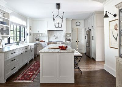 Updated kitchen engineered to create and open concept living area in Roswell remodel