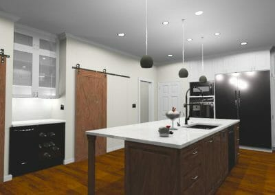 3D rendering of the Rustic Kitchen Remodel with Two Barn Doors in East Cobb