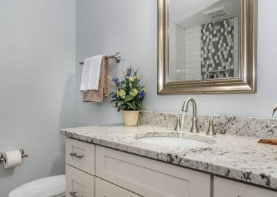 Bigger view of the sink and vanity in the Roswell bathroom renovation