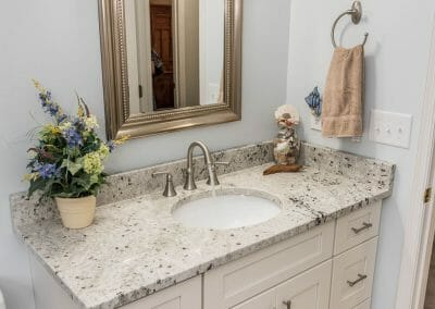 The hall bath vanity in the Roswell bathroom remodel