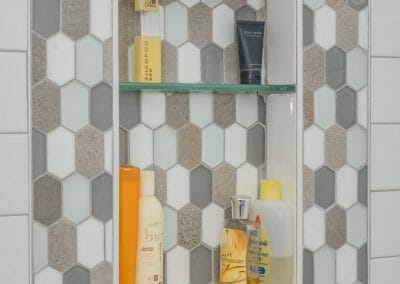Niche with hex tile in tub surround bath remodel in Roswell