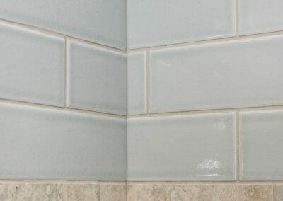 Tile detail in master bathroom remodeling project in Roswell