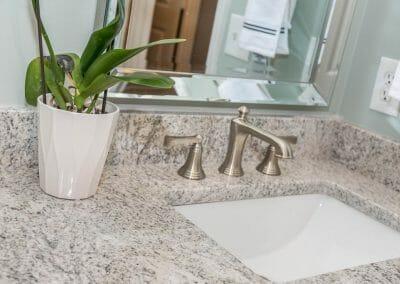 Brused nickel faucet in Roswell bathroom remodel