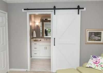 Barn door to master bathroom renovation in Roswell