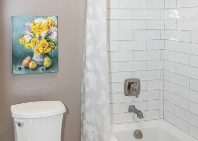 Subway tile tub surround in Roswell bathroom remodel