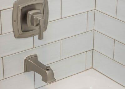 Subway tile tub surround in bathroom remodel in Roswell