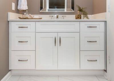 Shaker stye vanity cabinets in Roswell bathroom remodeling