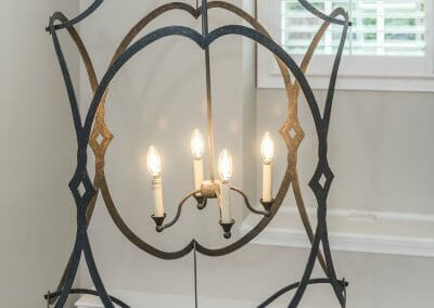 Dramatic and stylish chandelier in the foyer in the East Cobb remodeling project