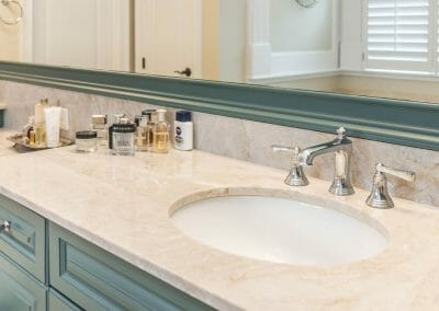 """""""Her"""" side of the double vanity in the East Cobb full bath remodeling project"""