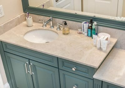 """""""His"""" side of the double vanity in the East Cobb full bathroom remodeling project"""