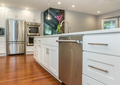 Shaker style cabinets in open kitchen remodel in Sandy Springs