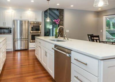 Bright white kitchen island remodel in Sandy Springs
