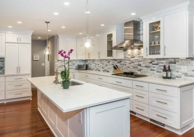 Full view of island and kitchen remodeling project in Sandy Springs