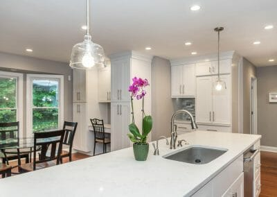 View to dining area over island in Sandy Springs kitchen remodel